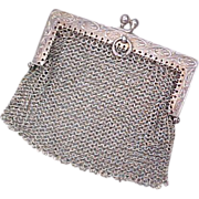 Chatelaine Sterling Silver Mesh Coin Purse GERMANY
