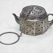 Vintage Sterling Silver Figural Tea Ball ~ Tea Pot