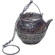 Figural Tea Ball / Infuser, Tea Pot, Sterling Silver