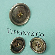 Vintage Tiffany & Co BUTTONS Sterling Silver 14k Gold