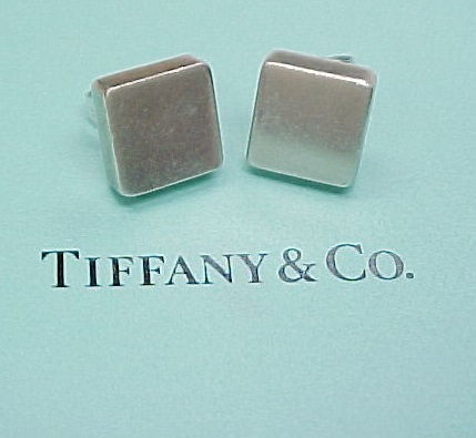Rare Retired Tiffany Co Sterling Silver Square Earrings Sold Ruby Lane