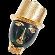 Vintage 18k Gold Charm ~ Elegant Gentleman, Top Hat & Bow Tie