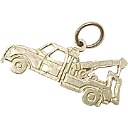 Vintage 14k Gold Charm, Tow Truck, Helpful Emergency Vehicle