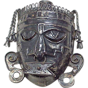 Aztec or Mayan Warrior Tribal Mask Pendant / Brooch