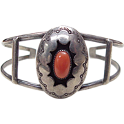 Navajo Cuff Bracelet Sterling Silver & Red Coral, L. Tsosie