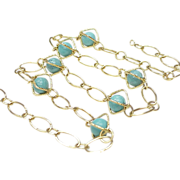 Caged Turquoise Bead Station Necklace 14k Gold