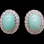 Persian Turquoise & 1.0 ctw Diamond Earrings Screw Back