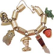 Vintage Charm Bracelet With 6 Amazing Large Charms 1950's