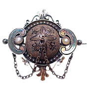Mid-Victorian Brooch Seed Pearl Accent Sterling & 9k Gold