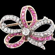 Victorian 18k & Silver 6.50 ctw DIAMOND & Ruby Brooch FRENCH
