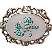 Early Victorian Brooch / Pendant~  Forget Me Not