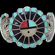 Zuni Sun Face Inlay Bracelet Sterling Silver circa 1970's
