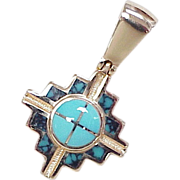 Zuni Cross Pendant 14k Gold & Turquoise signed DG