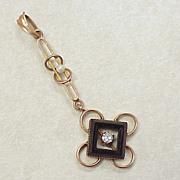 Victorian Lavaliere Pendant 10k Gold Onyx Diamond Seed pearl