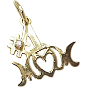 Vintage 14k Gold Charm ~ #1 MOM Diamond Accent