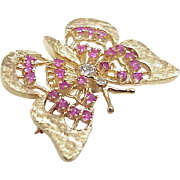 Butterfly Brooch 14k Gold Ruby & Diamond