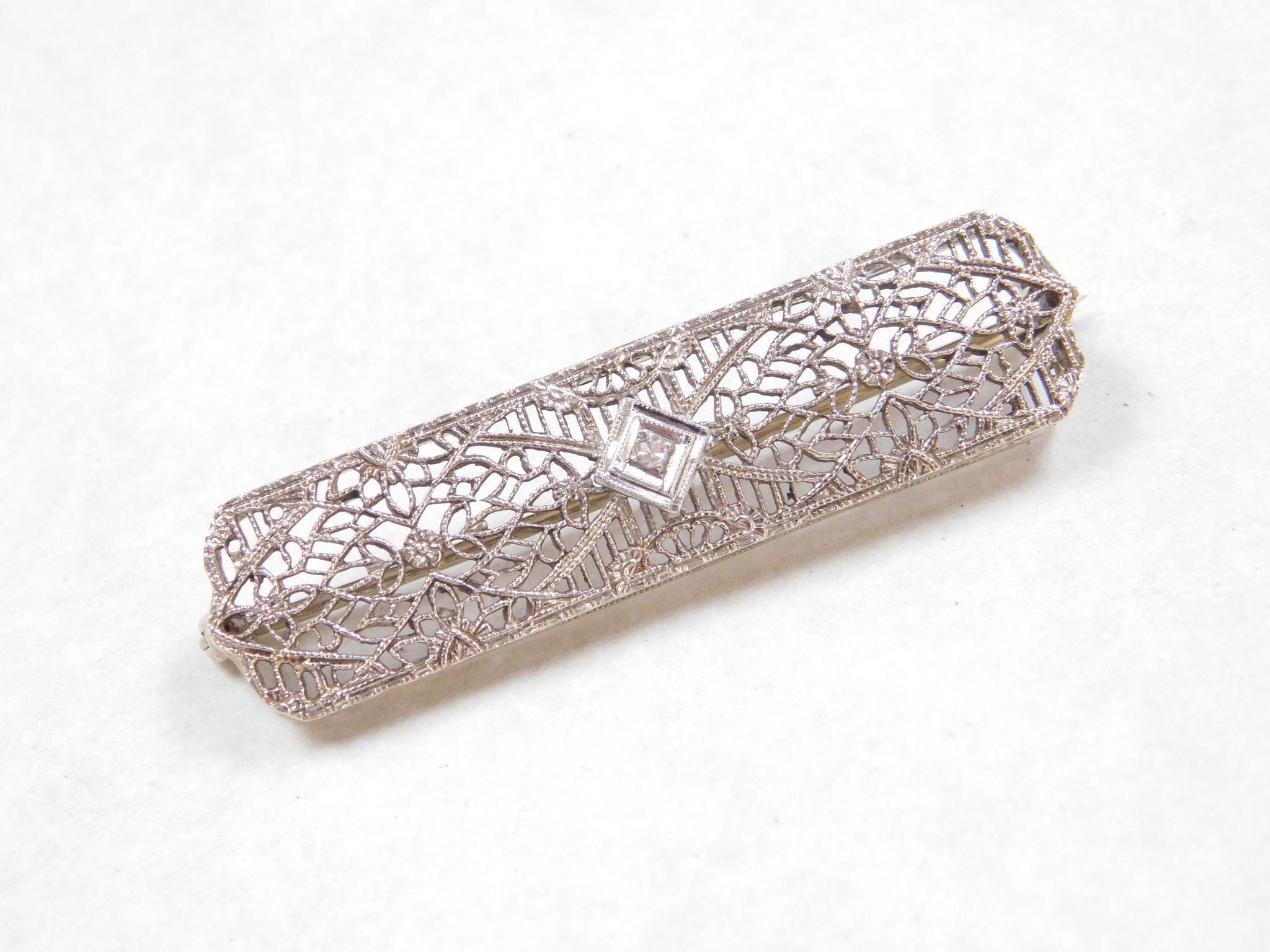 Art Deco 14k White Gold Filigree Brooch / Pin DIAMOND Accent