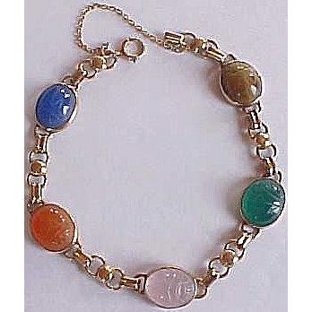 Vintage 14k Gold SCARAB Bracelet ~ Egyptian Revival