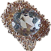 Rare 4 Carat ROUND Cut Aquamarine Ring 14k Yellow Gold