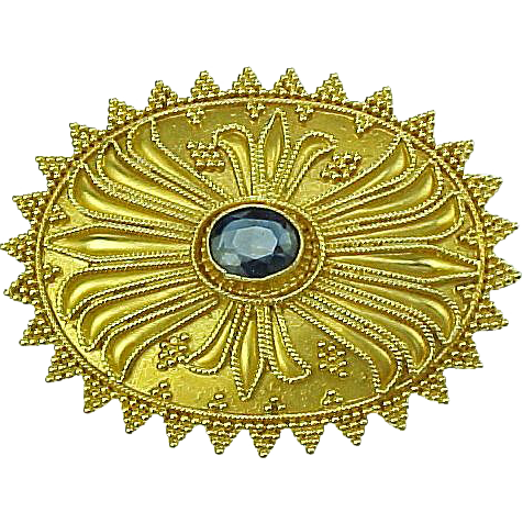 Ceylon Sapphire 22k Gold Brooch,  Hand Crafted Granulation