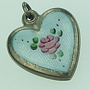 Puffed Heart Charm Colorful Guilloche Enameling Lamode