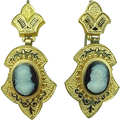 Victorian Mourning Period Gold Filled Cameo Earrings Enameled Accent