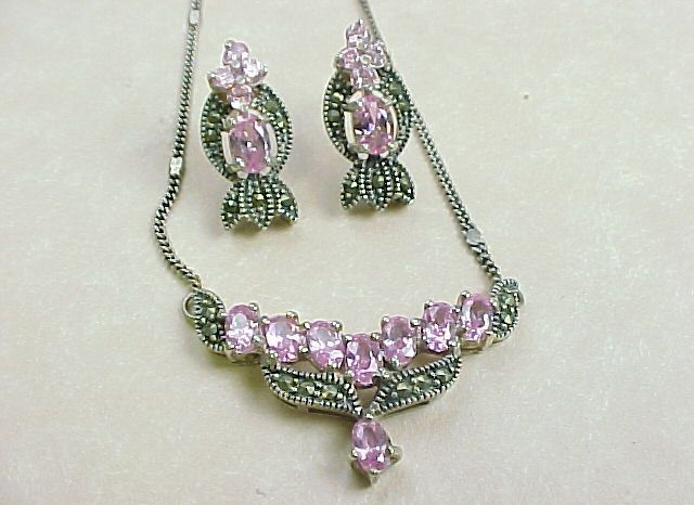 Vintage Necklace & Earring Set Sterling Silver, Pink Ice & Marcasite