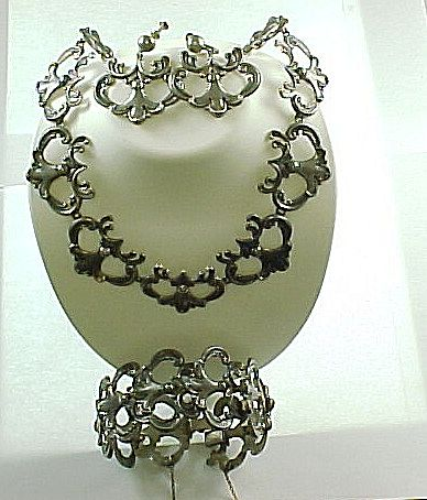 Vintage Margot De Taxco Sterling Necklace, Bracelet And Earrings