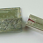Vintage Taxco 800 Silver Chrysoprase Mirrored Lipstick Case