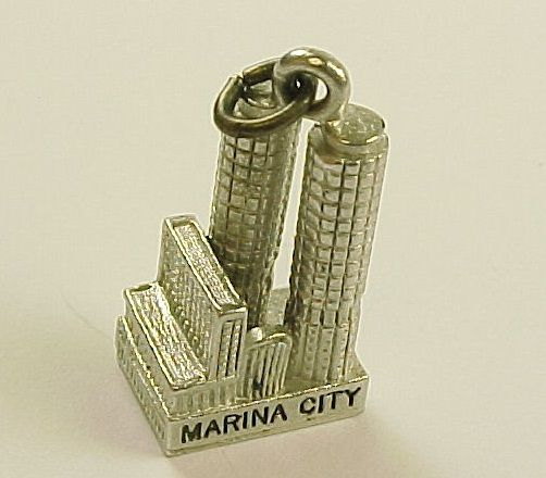 Vintage Sterling Silver Charm, Chicago Marina City  by Wells