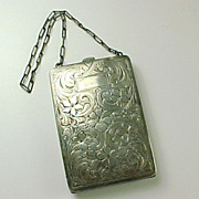 Hand Chased 1920's Sterling Silver Coin Purse / Compact Wristlet