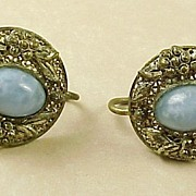 Vintage Czech Glass Earrings Screw Back Sterling Silver circa 1920's.