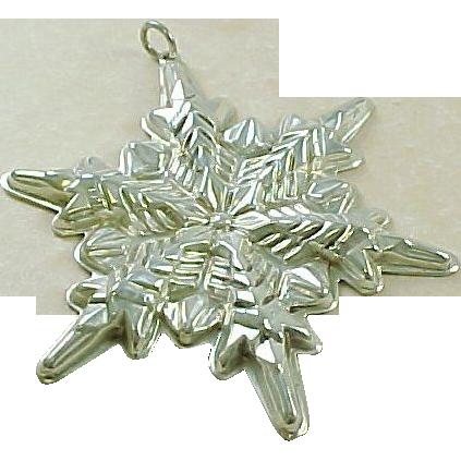 Vintage Sterling Silver Gorham 1972 Snowflake Ornament / Pendant