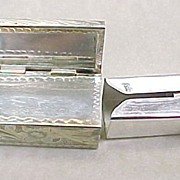 Vintage Lipstick Holder With Mirror 950 Silver & Red Coral