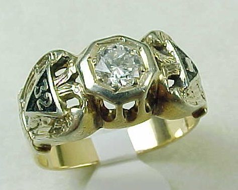 Masonic Ring DIAMOND .60 Carat Solitaire 14k Gold