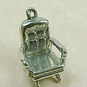 Vintage Sterling Silver Charm ~ Platform Rocking Chair, Mechanical