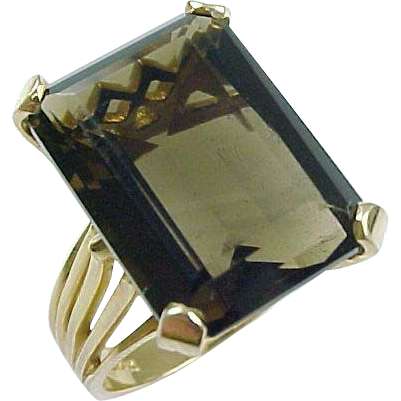 Vintage 20 Carat Smoky Quartz Ring 14K Yellow Gold 1960's