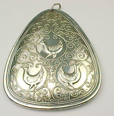 Retired Sterling Silver TOWLE  Three French Hens Ornament 1973
