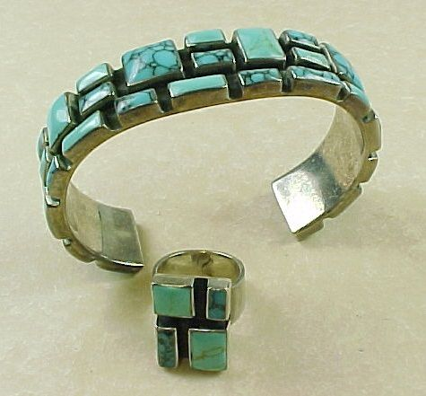 Sterling Silver Mexico Tibetan Turquoise Bracelet & Ring Set