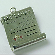 Vintage Sterling Silver Charm DIPLOMA Enameled Accent WELLS
