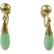 Vintage 14 K Gold JADE  Drop Earrings, Screw Back, 1950's
