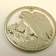 Pendant Hand Pierced U.S. Walking Liberty Silver Half Dollar