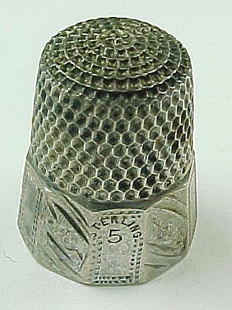 Estate Sterling Silver Sewing Thimble Size 5 Thimble
