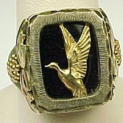 GENTS Vintage Sterling Silver & 12k Black Hills Ring ~ Duck Detail