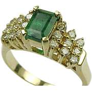 Vintage 14K Yellow Gold Emerald and Diamond Ring.