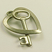 Vintage Sterling Silver Charm  Key & Heart, 3 Dimensional