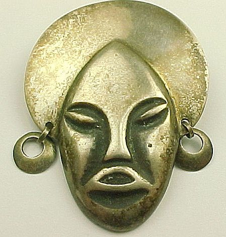 Vintage Brooch Tribal MASK  900 Silver circa 1950's
