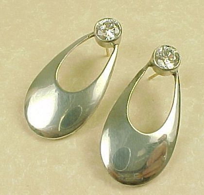 LARGE Drop Earrings 4 CTW Faux Diamond & Sterling Silver