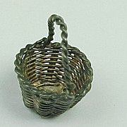 Vintage Sterling Silver Charm Woven BASKET With Moving Handle