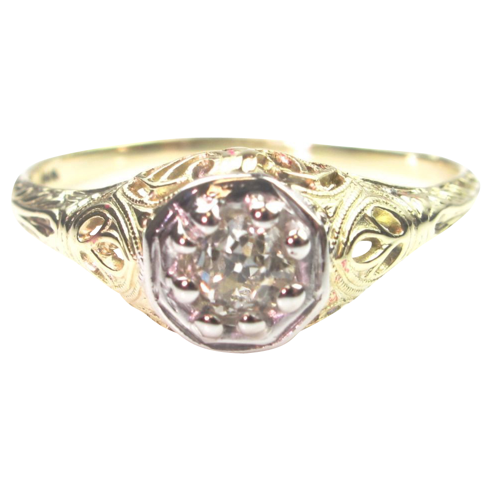 Art deco 26 carat diamond solitaire ring filigree setting for 26 carat diamond ring